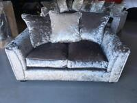 Beautiful 2 seater silver crushed velvet sofa brand new