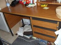 big solid desk with 3 lockable drawers