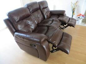 LEATHER 3 SEAT SOFA WITH MANUAL RECLINERS. 2 OFF. VERY GOOD CONDITION