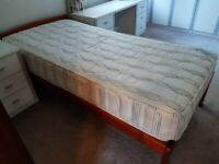 Pine Single Bed and Mattress