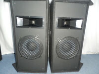 2 Way speaker cabs / Monitors(1 pair) 10'' Eminence speaker & 10'' horn (with compression driver)