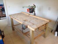 Workbench with vice and dewalt cross cut saw