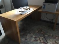 Ikea Malm desk with pullout section. Oak