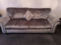 Crushed velvet sofa and chair