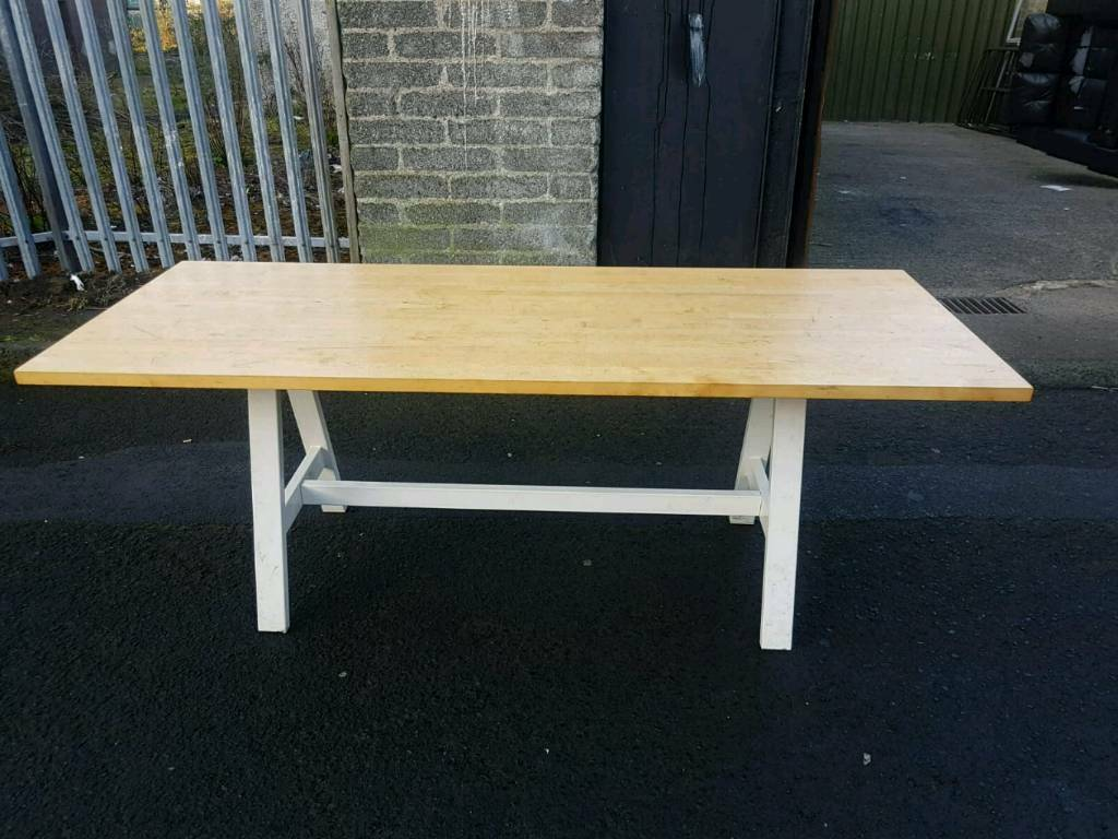 Solid pine table with white wood base