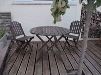 Bargain Solid Hard Wood Table & 2 Garden Chairs - Quality Outdoor Furniture Set
