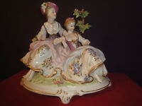Dresden figurine made in Germany of two ladies in waiting