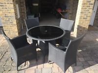 Rattan Style Garden Set - 4 Chairs and Round Table