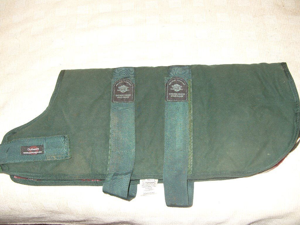 Outhwaite 50cm/20inch green dog coat. Condition is Used.