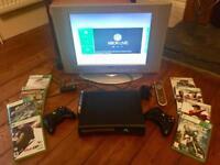 "Microsoft Xbox 360 Elite Black 120Gb Games Console AND 20"" LG TV."