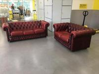 """Chesterfield Ox blood sofas""""FREE LOCAL DELIVERY """""""
