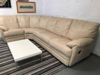 Gorgeous cream leather corner sofa with recliners