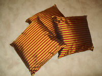 3 New Indian Pure Silk Cushions Red / Green Striped