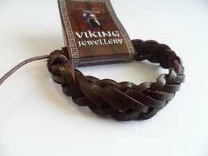 Viking Brown leather Plait  Bracelet, Norse, Celtic. Thor