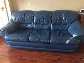 Leather 3 Piece Suite & Footstool. Blue