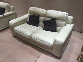2 x Free 2 seater DFS Cream Leather Sofas