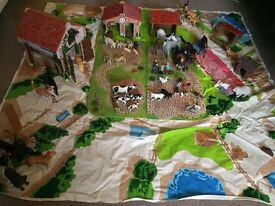 Early Learning Wooden Farm with approx 50 animals and farmers family EXCELLENT condition