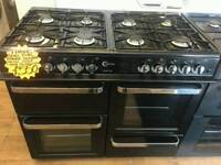 FLAVEL BLACK AND SILVER 100CM WIDE 8 BURNER DOUBLE OVEN DUEL FUEL RANGE COOKER