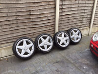 AZEV A 4 STUD ALLOY WHEELS WITH TYRES 215/40/17