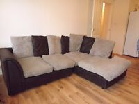 corner sofa, beige and brown, 100 pounds. Living if glasgow, PICK UP ONLY. email if any questions