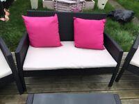 patio garden rattan set sofa two chairs table