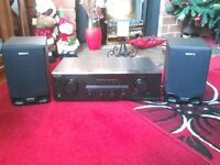 sony stereo amp with speakers and remote,ideal for record deck etc