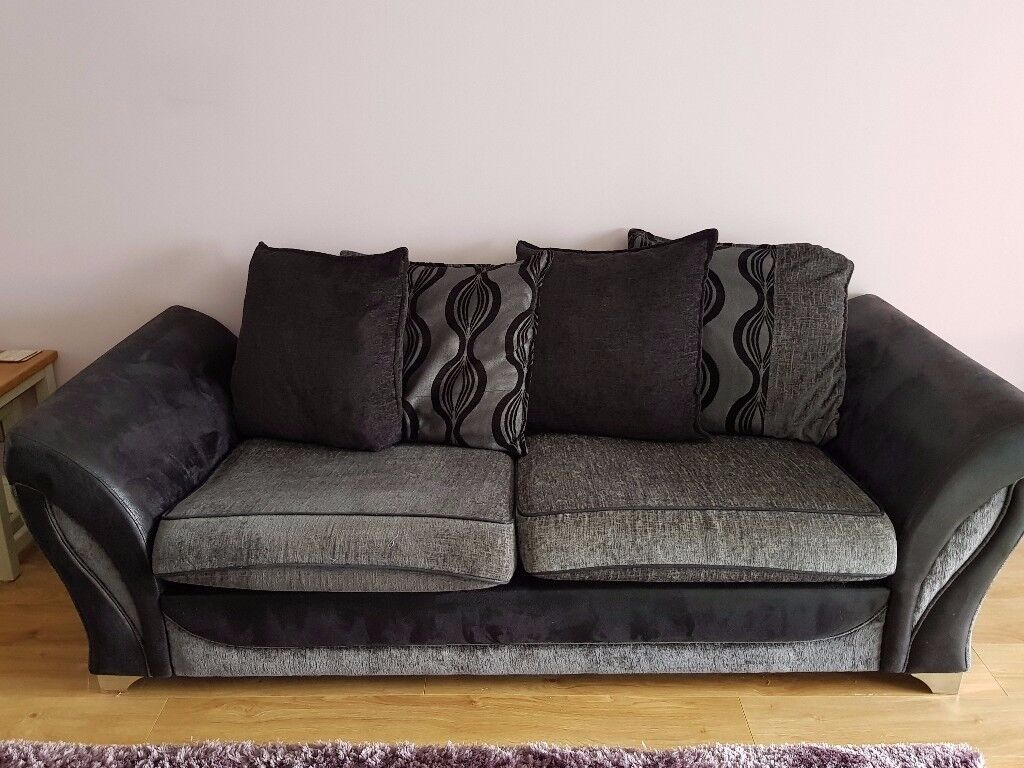 Three seater sofa, armchair and storage pouffe