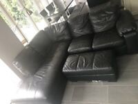 BLACK LEATHER CORNER SOFA - MUST GO ASAP - CHEAP DELIVERY - £275