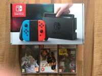 nintendo switch neon / blue ,all boxed ,everything as new , 3 games (2 still sealed) PRICE STANDS !