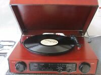 WOOD STEREO TURNTABLE/RADIO PLAYER NEED NEEDLE CAN BE SEEN WORKING