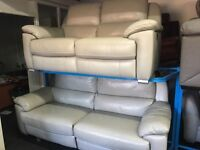 New/Ex Display LazyBoy Leather 3 Seater Electric Recliner Sofa + 2 Seater Leather Recliner Sofa