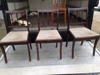 THREE MATCHING VINTAGE DINING CHAIRS IN VERY GOOD USED CONDITION FREE LOCAL DELIVERY 07486933766