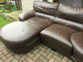 Leather corner sofa with built in swivel section and matching electric recliner chair