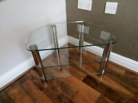 Clear glass /Chrome & Glass TV Stand