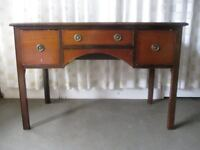 VINTAGE OAK LEATHER TOPPED THREE DRAWER KNEEHOLE DESK FREE DELIVERY