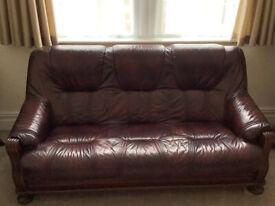 Three Piece Suite - Wine Coloured - Leather Look