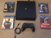 Sony Playstation 4 500GB Jet Black Slim Console with controller & 4 games - USED
