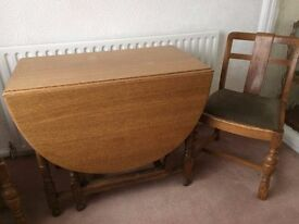 oak dining table, chairs and sideboard from 1950's