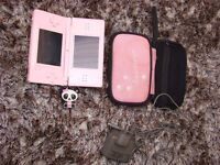 Nintendo DS Lite, Baby pink, with stylus, charger & pink paws padded case with zip compartment for