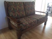 @@BEAUTIFUL SOLID OAK 2 SEATER SOFA, JUST BEEN UPHOLSTERED@@
