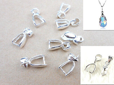 - 10PC Size L 925 sterling silver Findings Bail Connector Bale Pinch Clasp Pendant