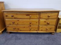 Lovely pine chest of 3 short and 3 long drawers