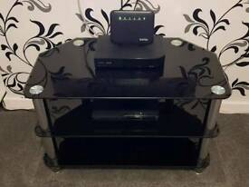 THREE TIER BLACK GLASS & CHROME TV UNIT