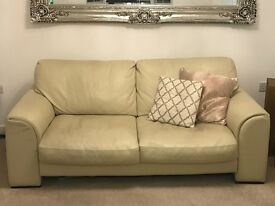 2x 3 Seater DFS Cream Leather Sofas **Great Condition**