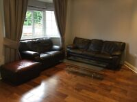 Brown Leather Sofa Suite 3 Seater 2 Seater and Stool