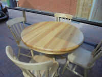 Pine Pedestal Table and 4 Beech Chairs. 2 years old Brough from the Cotswold Company