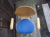 desk chair wooden and blue fabric.