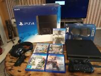 PS4 SLIM 500GB JET BLACK FPS GAMER BUNDLE, TAC PRO MOUSE AND KEYBOARD, TURTLE BEACH HEADPHONES
