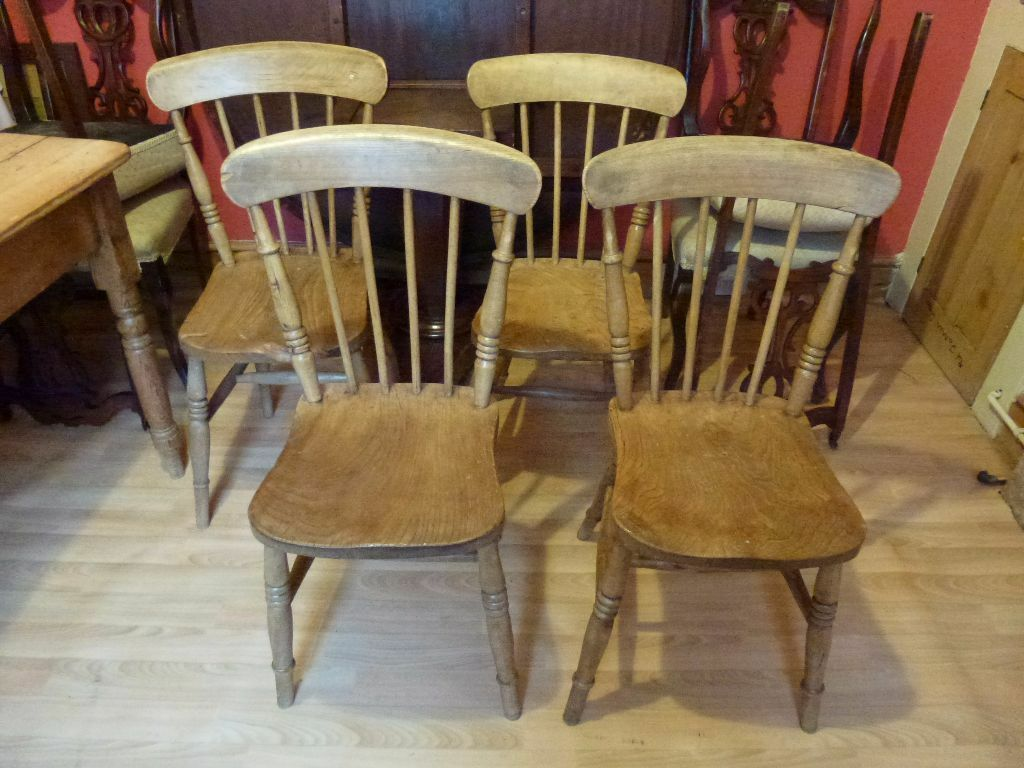 Four antique victorian elm beech kitchen chairs farmhouse dining rustic