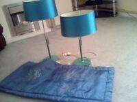 PAIR TEAL/GREEN LAMPS AND BED RUNNER BUNDLE